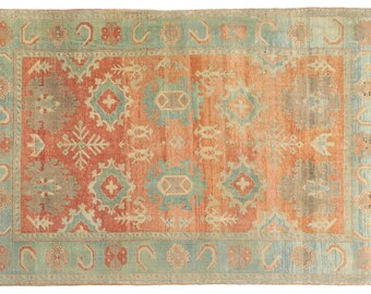 """5'9""""x8'7'' Blue and Orange Rug, you can say turquoise and rust color, Caucasian Kushan design unique Rug, Vintage one of a kind quality Rug"""