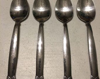 Oneida Stainless Rattan Four Oval Soup Spoons
