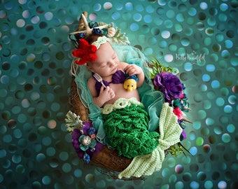Little Mermaid Ariel Disney Inspired Sparkle Crochet Newborn Mermaid Photo Prop Outfit, Baby Outfit, Baby Mermaid, Crochet Mermaid