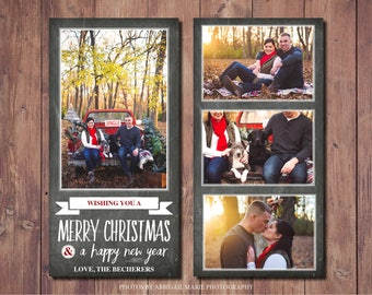 Holiday Photo Christmas Card Printable, Printable Photo Christmas Card, Modern Christmas Card Printable, Chalkboard Card, Photo Credit: AMP