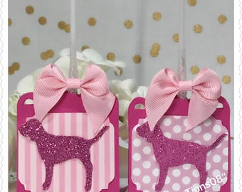 12 Stripes and Dots Pink Lollipop Favors