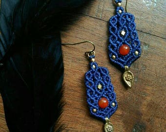 Dark blue agate Earrings with brass beads