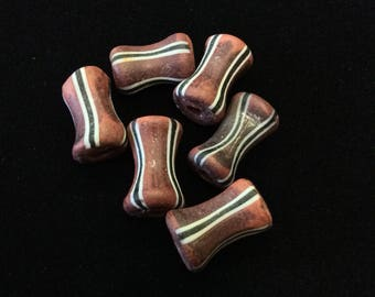 6 Terracotta Striped Dogbone Antique Trade Beads - Rare