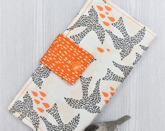 Womens wallet, dotted birds print slim bifold wallet, fabric clutch wallet, handmade wallet, checkbook wallet, card wallet, womans gift idea