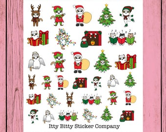 Christmas Mauly Sampler Sheet - Hand Drawn IttyBitty Kitty Collection - Planner Stickers