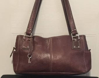Fossil Pebbled Leather Satchel in Brown ZB9961