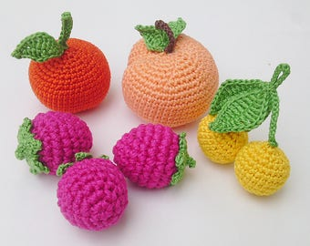 A set of fruits and berries 6(pcs),crochet fruit,Sensory Toy,Toddler Learning Toy,Nursery Decor, Preschool Game,, Kids GIft, Play Food.