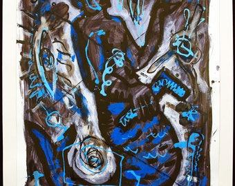 Art from the GDR. Untitled, 1990. Gouache by Volker MEHNER