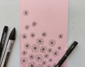 Spring Flowers Pastel Pink Ruled A5 Moleskine Notebook