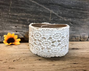 Upcycled Ivory Lace Cuff Bracelet, Boho Lace Cuff, Women's Cuff Bracelet, Cream Lace Bracelet, Upcycled Belt, Repurposed Bracelet Cuff