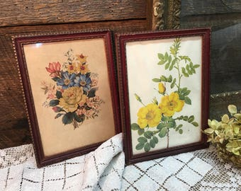 Mahogany & Gold Florals/Framed/Set of Two/Floral Pictures
