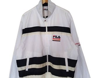 Hot Sale!!! Rare Vintage 90s FILA INTERNATIONAL Multicolor Windbreaker Jacket Hip Hop Skate Swag Extra Large Size