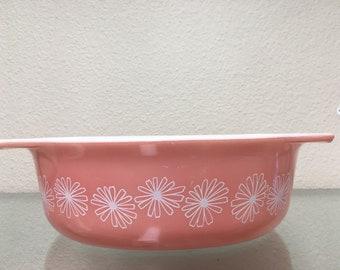 Vintage Pyrex 043 Pink Daisy Pattern 1-1/2 Quart Casserole Dish