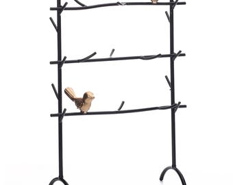 Ikee Design Black Metal Jewelry Rack with Branches and Birds Decoration(SKU# COP3709)