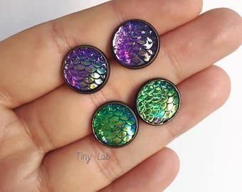 Holographic Earrings with mermaid tail, mermaid earrings