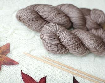 Hand Dyed Superwash Merino Wool smokey purple yarn sock wool Colorway: brown 100g (3.5 oz)