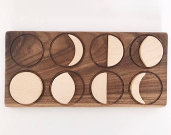 wooden moon phase puzzle, montessori, waldorf