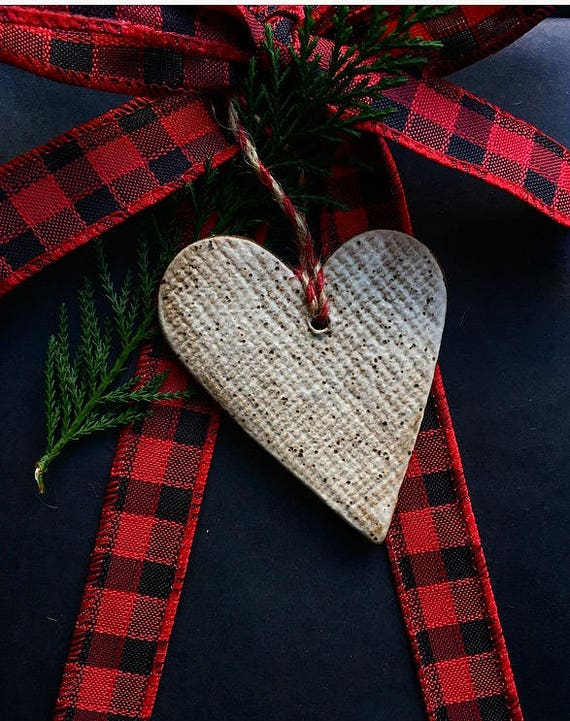 White Speckled Heart Ornament