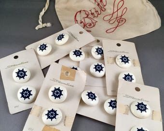 Vintage buttons Nautical Style Ship's Wheel