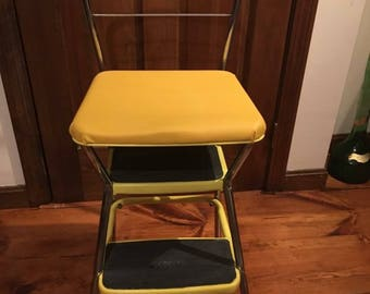 Vintage Yellow Step Stool, Chair, Cosco, Bar Stool