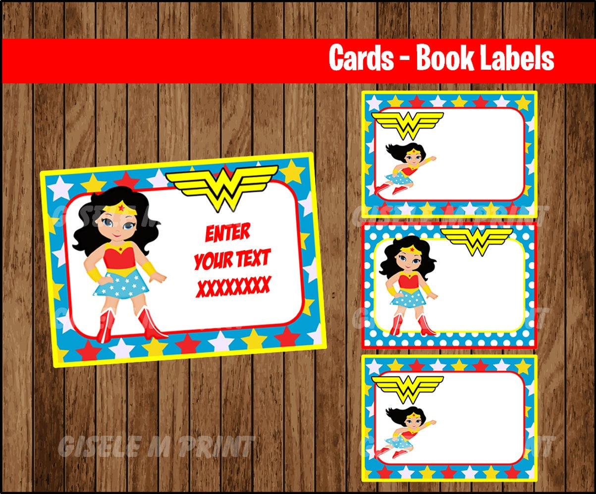 Wonder Woman Printable Cards tags book labels stickers
