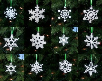 Laser Cut Snowflake Christmas Ornament Set #1