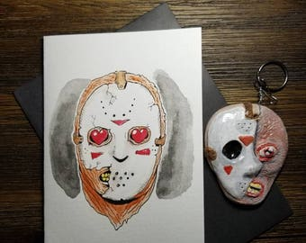 Jason Voorhees Friday the 13th hand painted greeting card, with hand made Jason Keychain! One of a kind! FREE shipping!