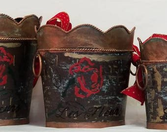 """French Vase set """"BRONZE ROSES"""" from CAMPAGNE collection"""