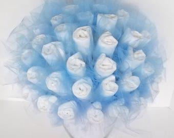 Diaper bouquet - baby boy shower centerpiece ideas - unique baby shower decorations - baby shower gift - unique baby boy gift - new mom gift