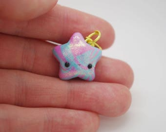 Polymer clay, pink and blue, shimmery, kawaii, handmade, star charm
