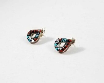 Vintage Lorena Laahty Sterling Silver Zuni Native American Turquoise Coral Mother Of Pearl Earrings