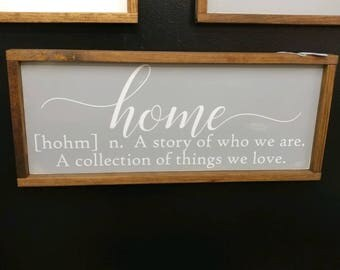 Home framed wood sign, custom wood sign, Joanna Gaines, Fixer Upper, farmhouse decor, rustic sign, housewarming gift, french country