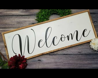 Welcome Sign, Wood Welcome sign, framed welcome sign, farmhouse style sign, entryway sign, entry way sign, entryway decor, welcome