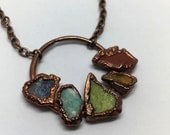 Raw Stone Necklace, Jasper Necklace, boho necklace, raw stone jewelry, Multistone necklace, pride necklace, copper jewelry, copper necklace