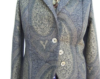 Navy blue paisley wool trouser suit