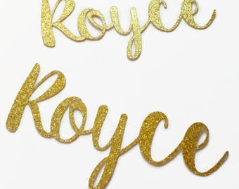 Custom Name Confetti LARGE (10 Pieces) Die Cut - Gold Glitter - Cursive - Any Name, Word, Team