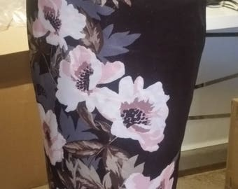 Stretchy Midi Pencil skirt with back slit - Scuba Brown fabric with pink flowers. Size 12