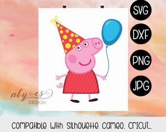 Peppa Pig Birthday SVG, Layered Peppa Pig, Vector Peppa Pig, Clipart, Dxf, Jpg, Iron On Transfer Paper, Silhouette, Cameo, Cricut, Cut Files