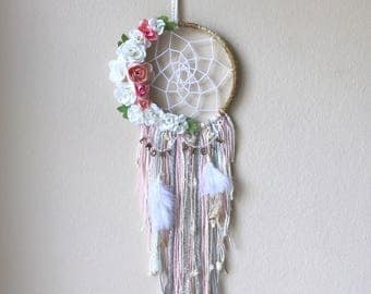 "6"" Floral and Feather Dream Catcher with initials"