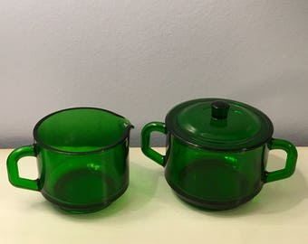Green Glass Creamer and Covered Sugar Bowl Stacking Set Pressed Glass