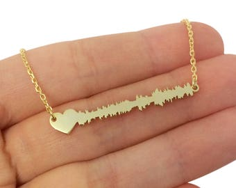 Custom Sound Wave Necklace with Heart, Personalized Silver Soundwave Necklace, Custom Heartbeat Necklace, I Do Necklace, Waveform Necklace