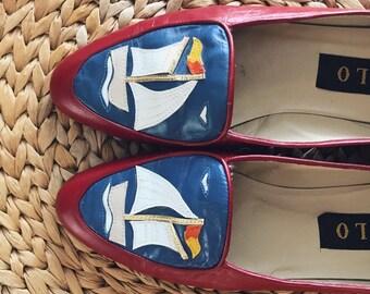 Vintage Zalo loafers / sailboat zalo shoes