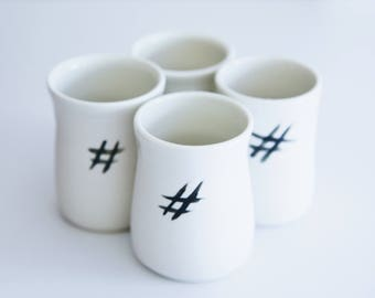 Modern Ceramic Glazed Tumblers Set of 4 , Handmade Pottery Tumbler Cups