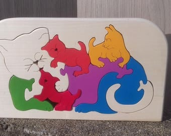 Wooden puzzle cat and puppy for children from 3 years