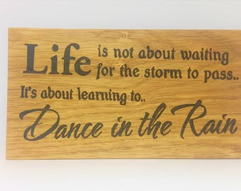 oak sign - oak plaque - personalised - life quote -rustic wall art- room decor  - christmas present - house warming