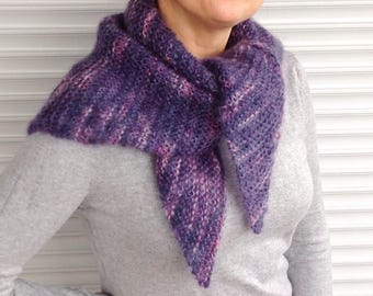 Knit Shawl / Hand-knitted Triangle Shawl / Warm Winter Shawl / Triangle Scarf / Blue Pink Shawl / Mohair Shawl