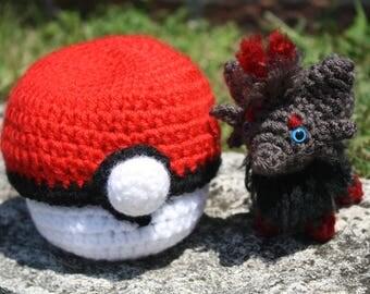 Crochet Pokémon Zorua in Pokéball Amigurumi