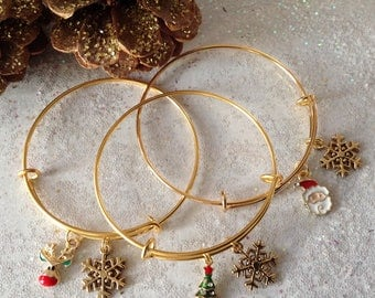 Gold Holiday Bracelet, Gold Santa Bracelet, Gold Snowflake Bracelet, Gold Reindeer, Gold Christmas Tree, Expandable Wire Bangle
