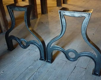 28 Tall Industrial Cast Iron Table Legs Vintage