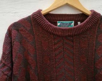Vintage JUMPER//vintage clothing/gray/burgundy/medium size/90s/unisex/Knitwear/vintage knit/winter/gift for Men
